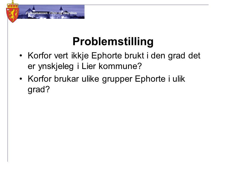 Problemstilling Korfor vert ikkje Ephorte brukt i den grad det er ynskjeleg i Lier kommune.