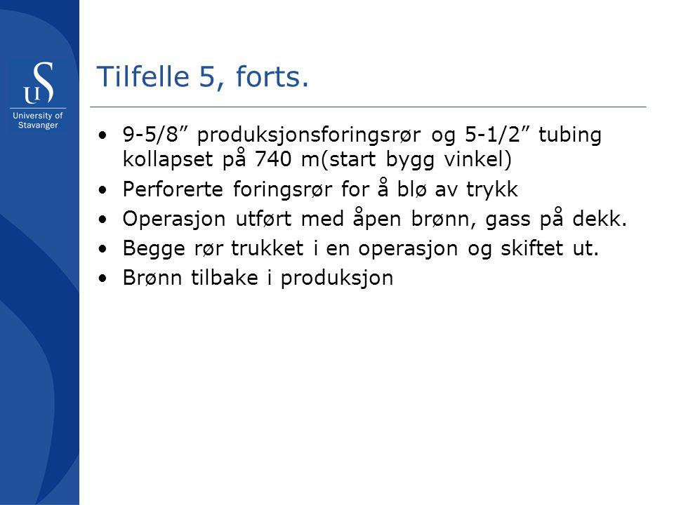 Tilfelle 5, forts. 9-5/8 produksjonsforingsrør og 5-1/2 tubing kollapset på 740 m(start bygg vinkel)