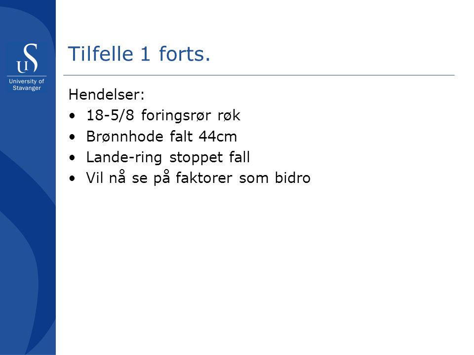Tilfelle 1 forts. Hendelser: 18-5/8 foringsrør røk Brønnhode falt 44cm