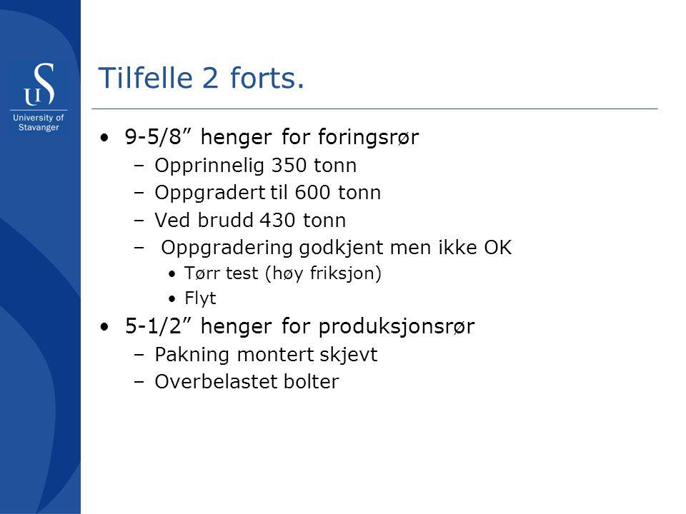 Tilfelle 2 forts. 9-5/8 henger for foringsrør