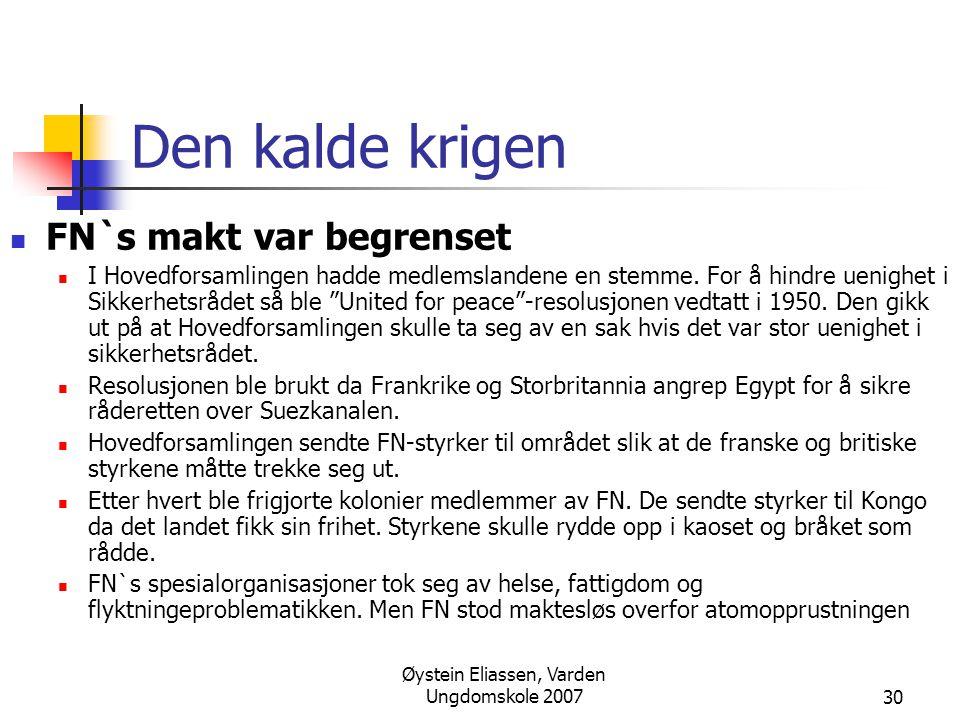 Øystein Eliassen, Varden Ungdomskole 2007