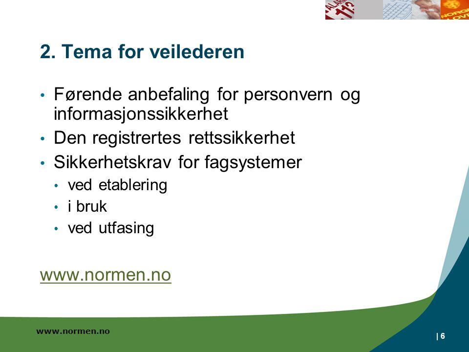 2. Tema for veilederen Førende anbefaling for personvern og informasjonssikkerhet. Den registrertes rettssikkerhet.