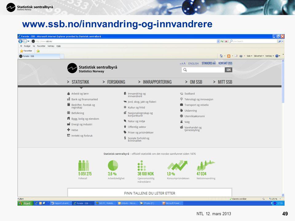 www.ssb.no/innvandring-og-innvandrere NTL 12. mars 2013 49