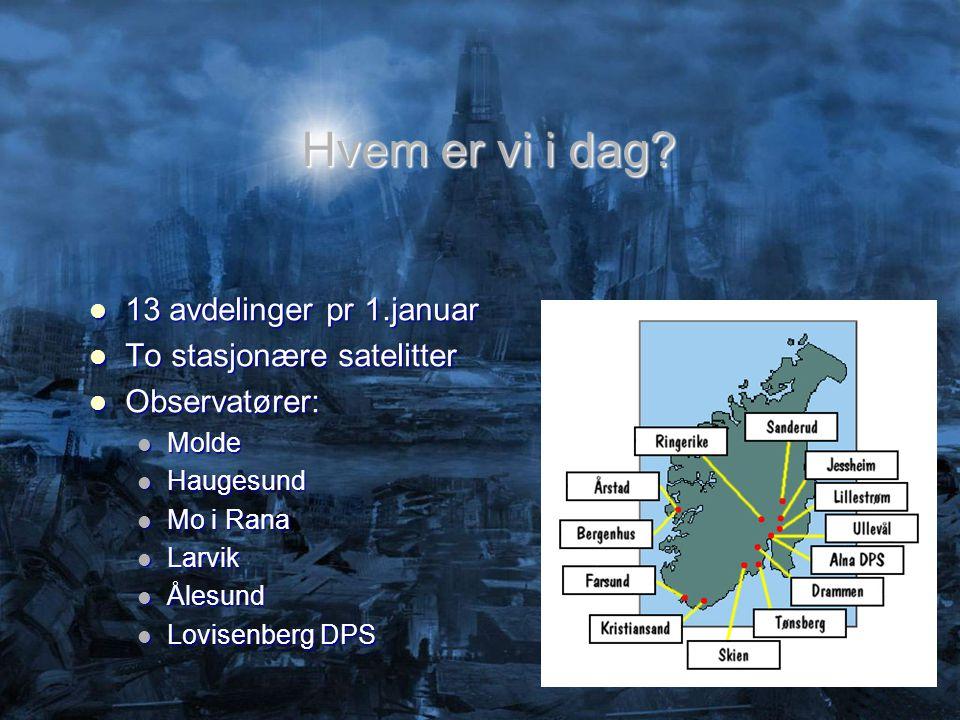 Hvem er vi i dag 13 avdelinger pr 1.januar To stasjonære satelitter