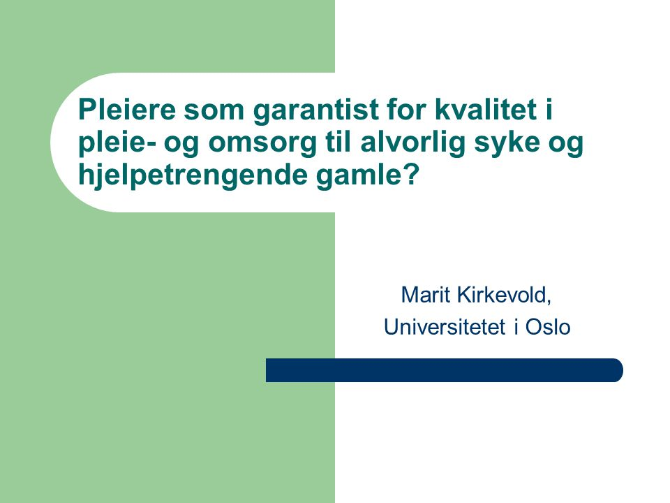 Marit Kirkevold, Universitetet i Oslo