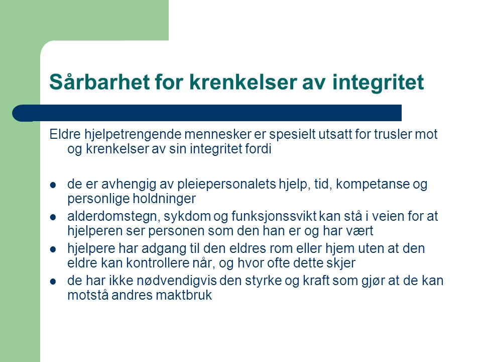 Sårbarhet for krenkelser av integritet