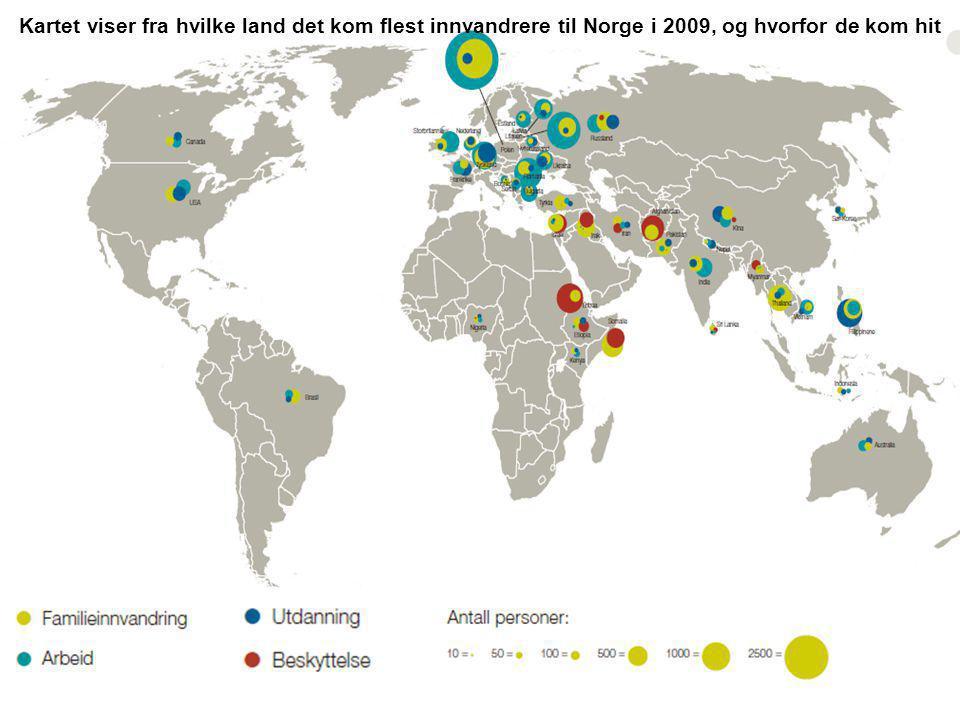 Kartet viser fra hvilke land det kom flest innvandrere til Norge i 2009, og hvorfor de kom hit
