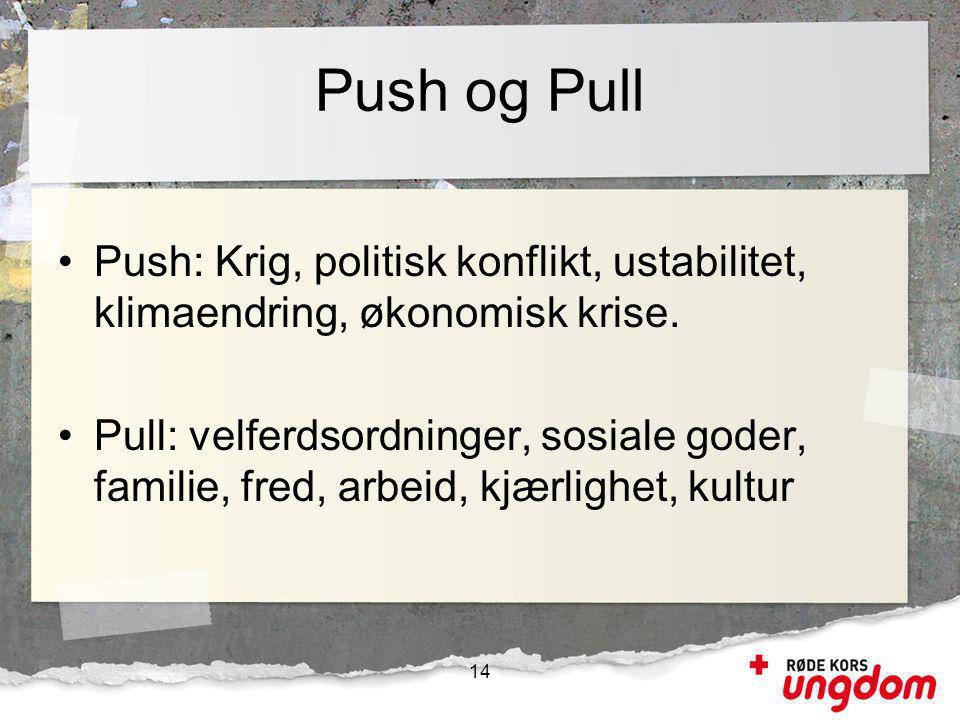 Push og Pull Push: Krig, politisk konflikt, ustabilitet, klimaendring, økonomisk krise.