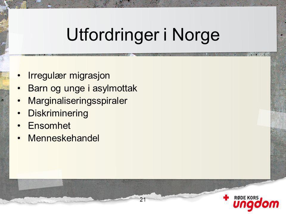 Utfordringer i Norge Irregulær migrasjon Barn og unge i asylmottak