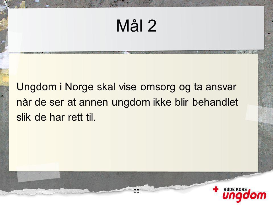 Mål 2 Ungdom i Norge skal vise omsorg og ta ansvar