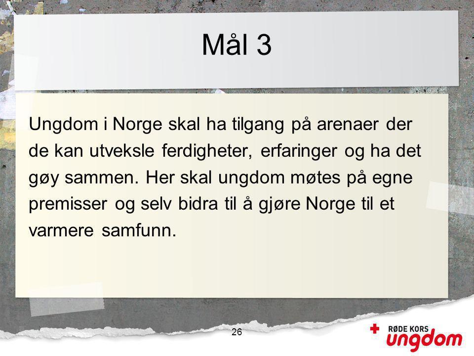 Mål 3 Ungdom i Norge skal ha tilgang på arenaer der