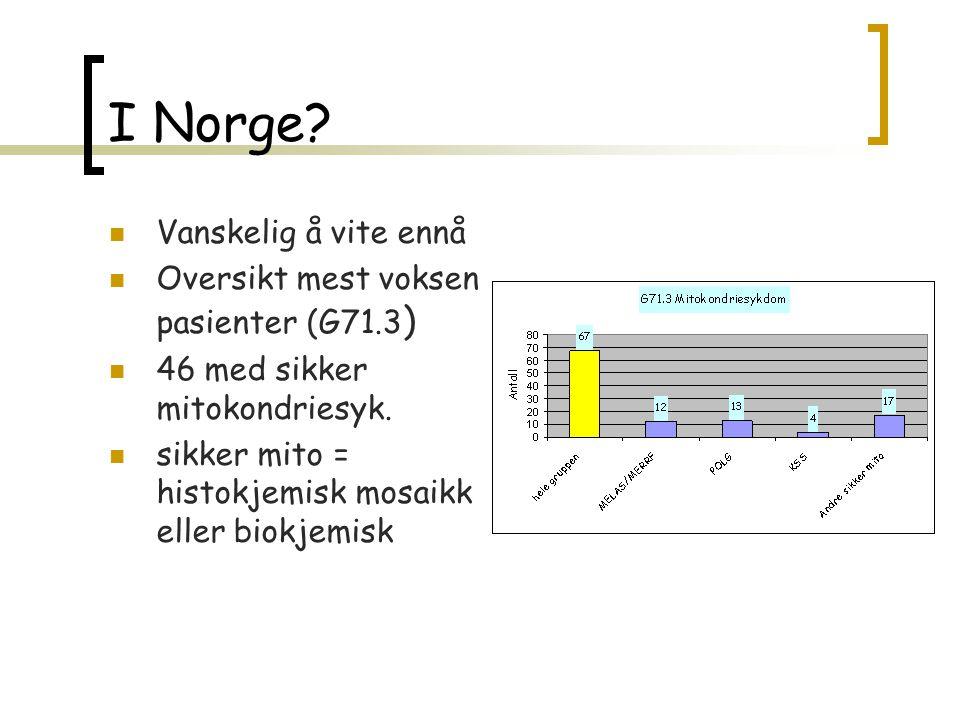 I Norge Vanskelig å vite ennå Oversikt mest voksen pasienter (G71.3)