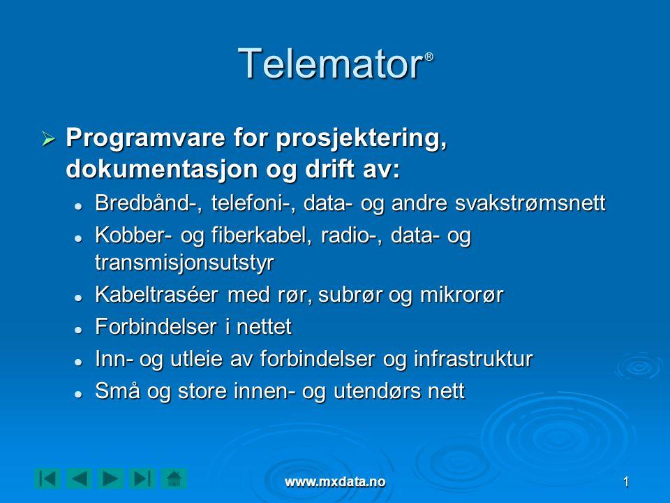 Telemator ® Programvare for prosjektering, dokumentasjon og drift av: