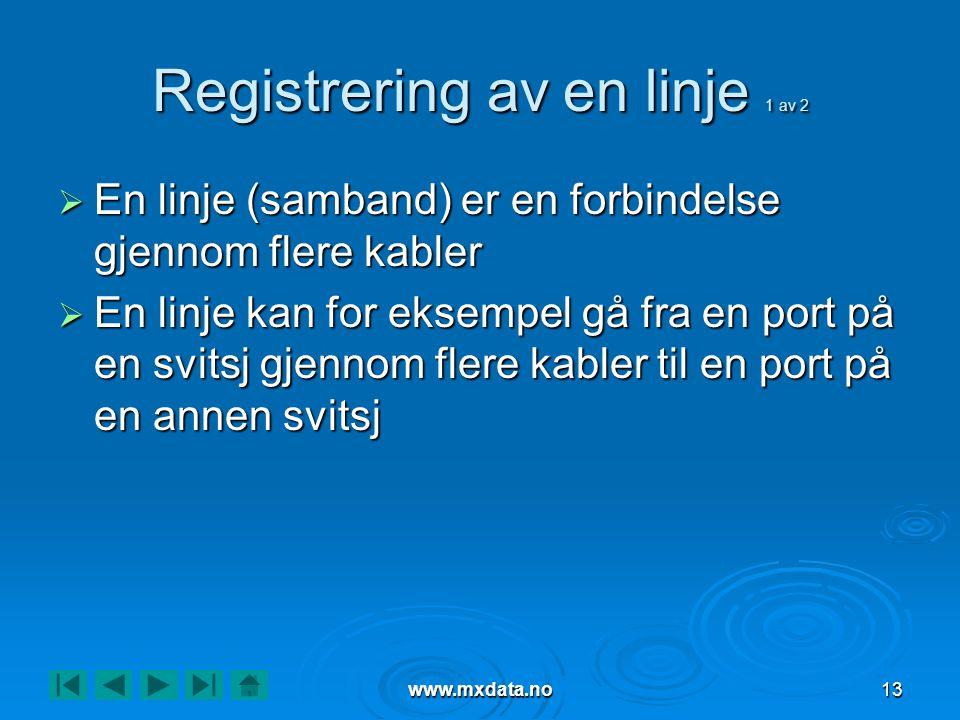 Registrering av en linje 1 av 2