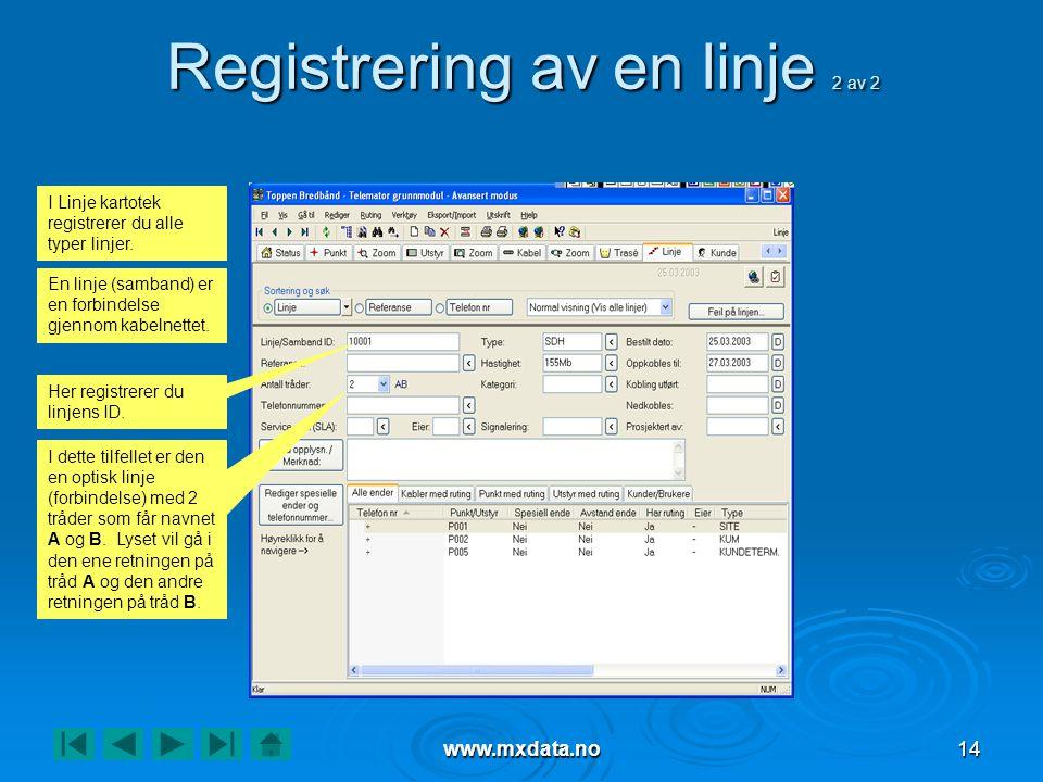 Registrering av en linje 2 av 2