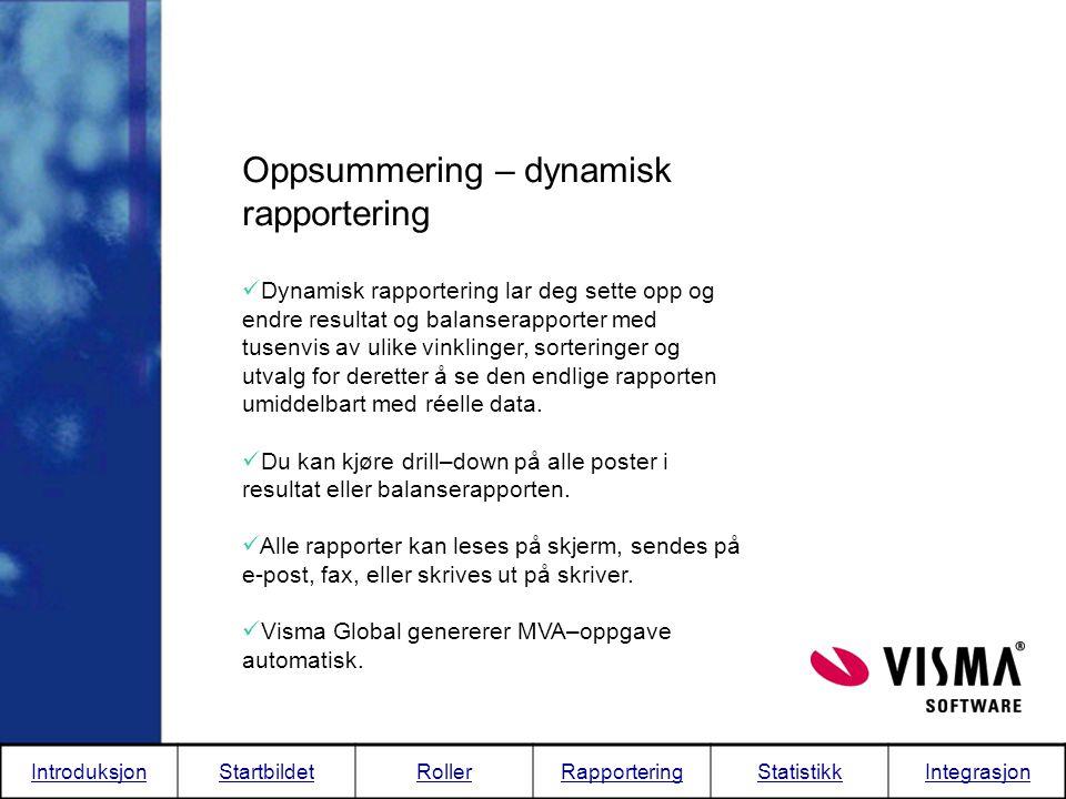 Oppsummering – dynamisk rapportering