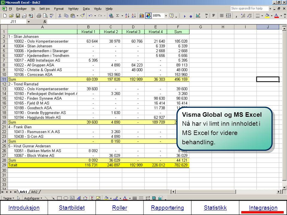 Visma Global og MS Excel Nå har vi limt inn innholdet i