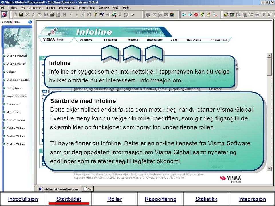 Infoline er bygget som en internettside. I toppmenyen kan du velge