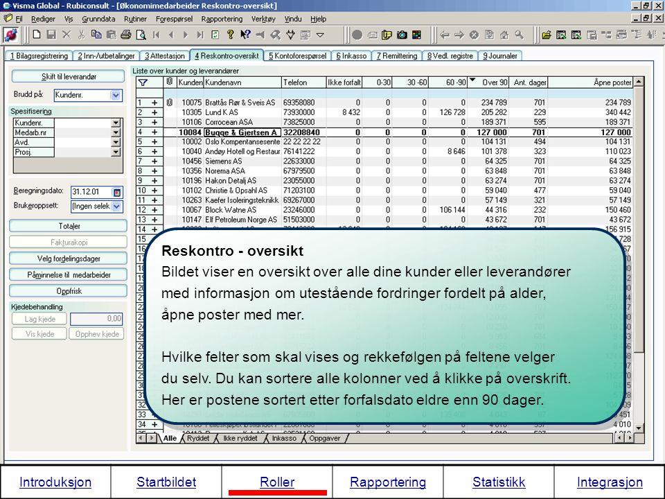 Bildet viser en oversikt over alle dine kunder eller leverandører