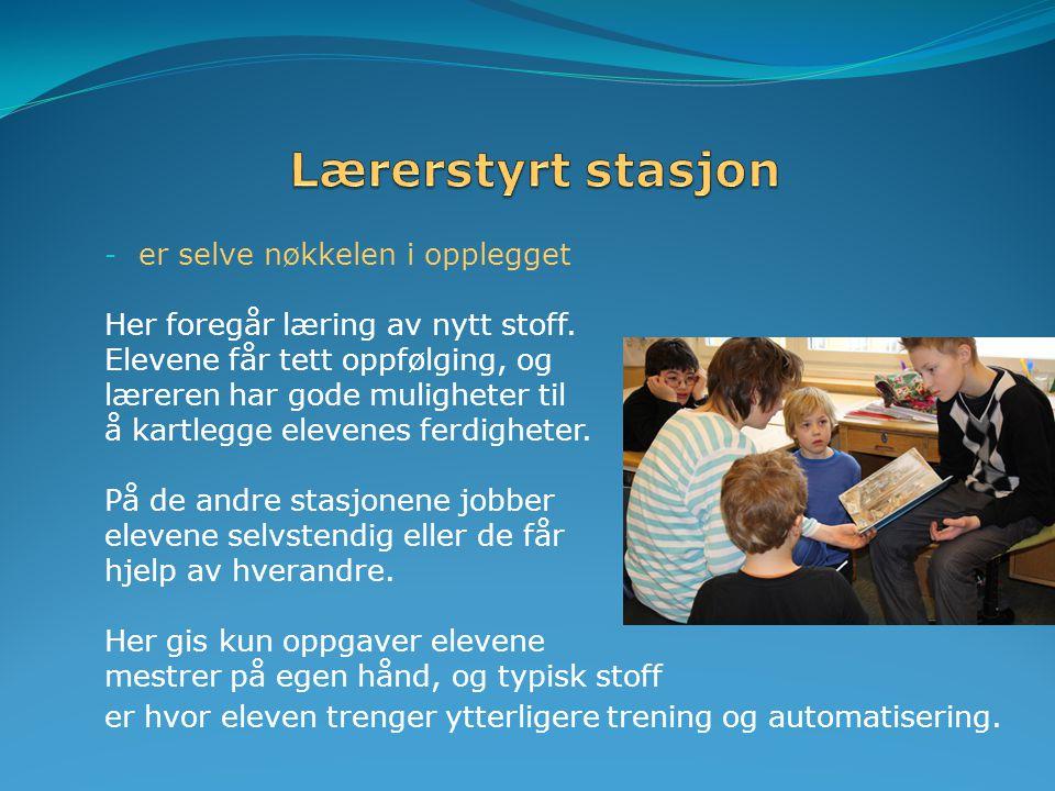 Lærerstyrt stasjon er selve nøkkelen i opplegget