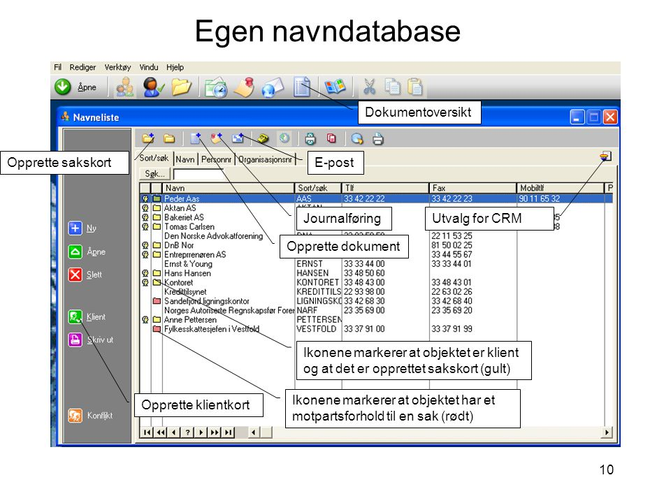 Egen navndatabase Dokumentoversikt Opprette sakskort E-post