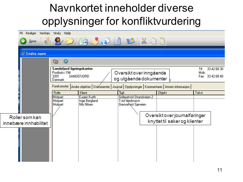Navnkortet inneholder diverse opplysninger for konfliktvurdering