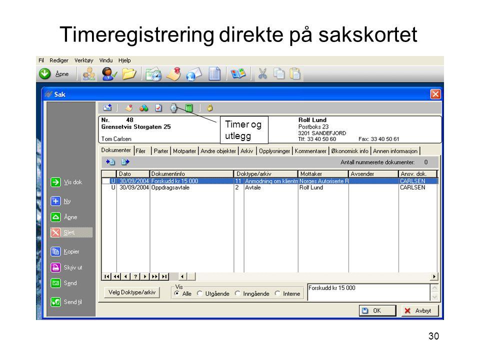 Timeregistrering direkte på sakskortet