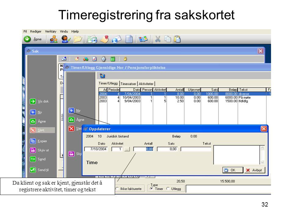 Timeregistrering fra sakskortet