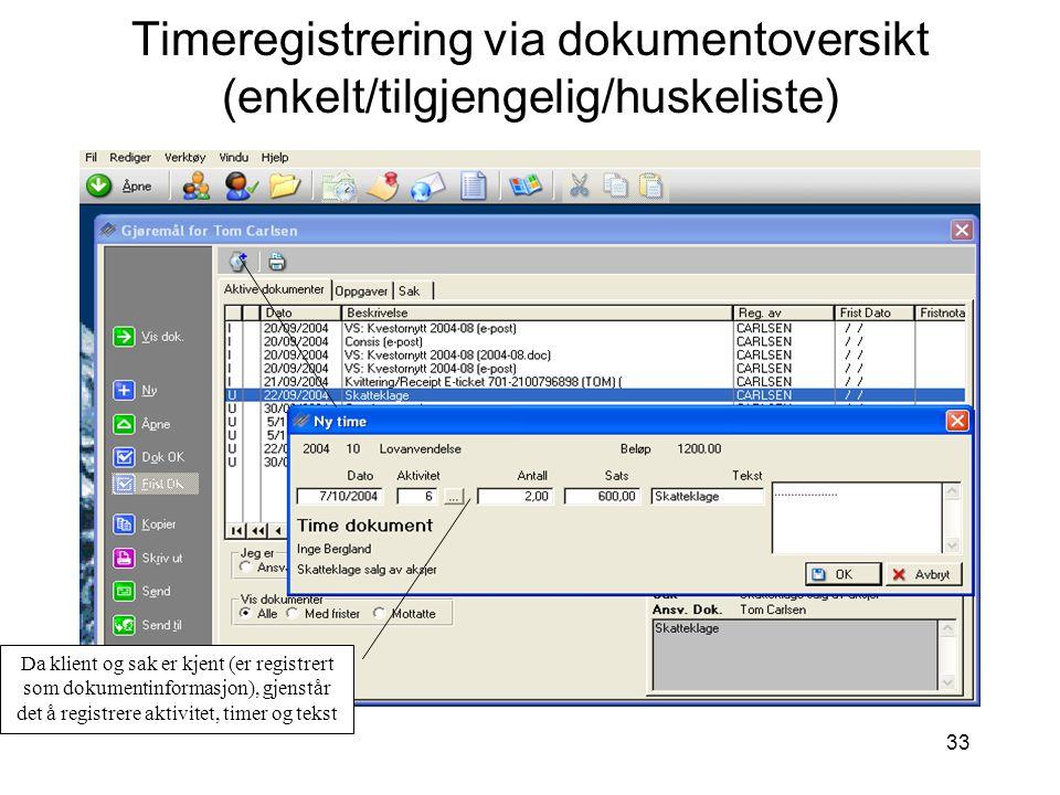 Timeregistrering via dokumentoversikt (enkelt/tilgjengelig/huskeliste)