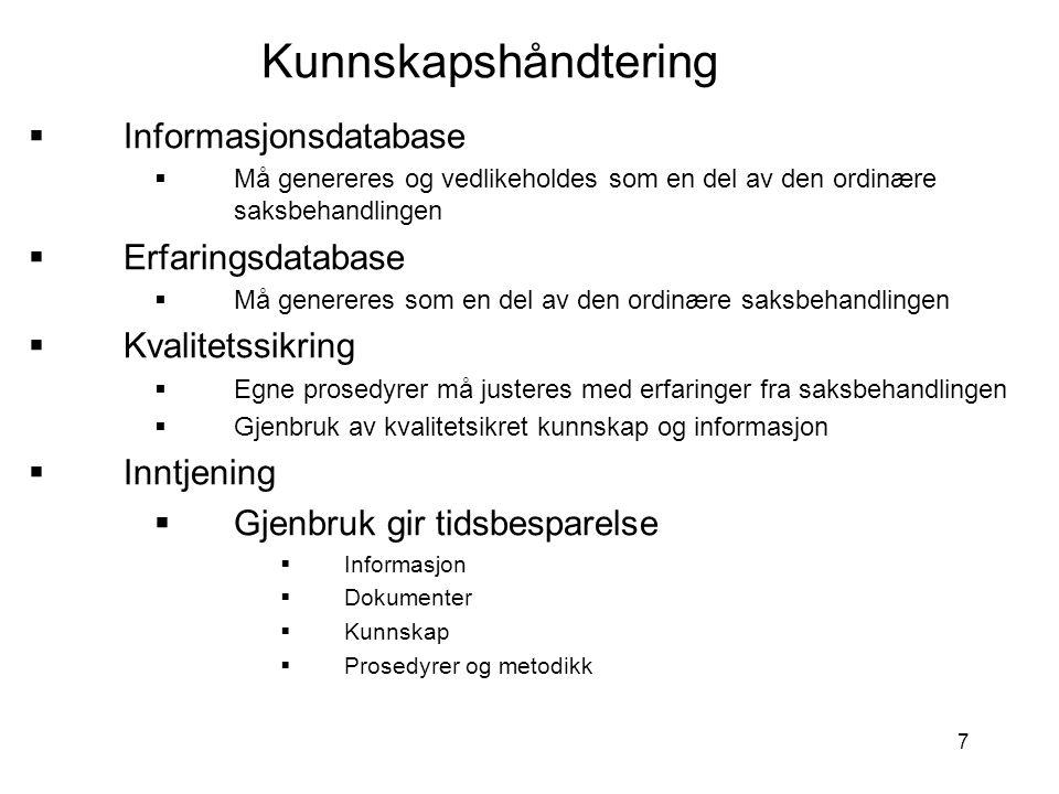 Kunnskapshåndtering Informasjonsdatabase Erfaringsdatabase