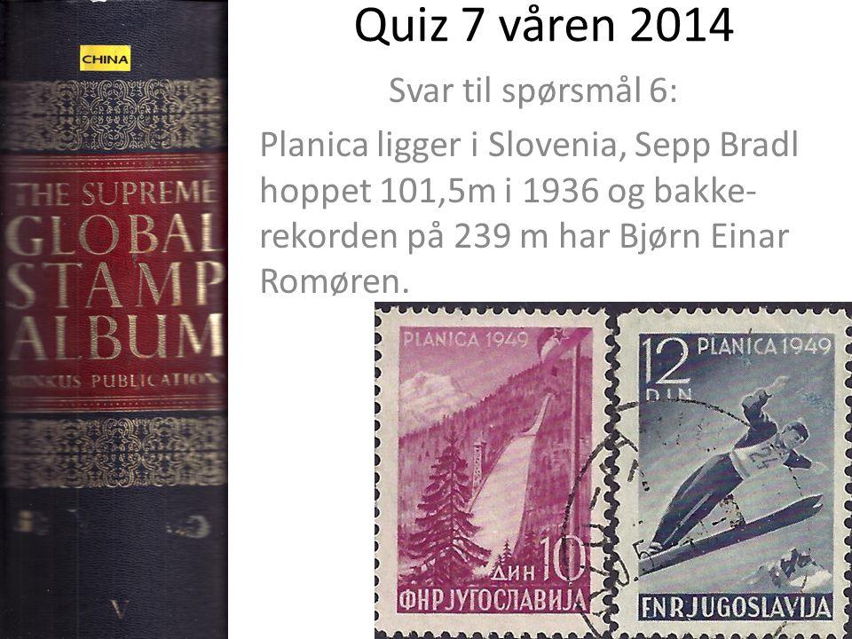 Quiz 7 våren 2014 Svar til spørsmål 6: