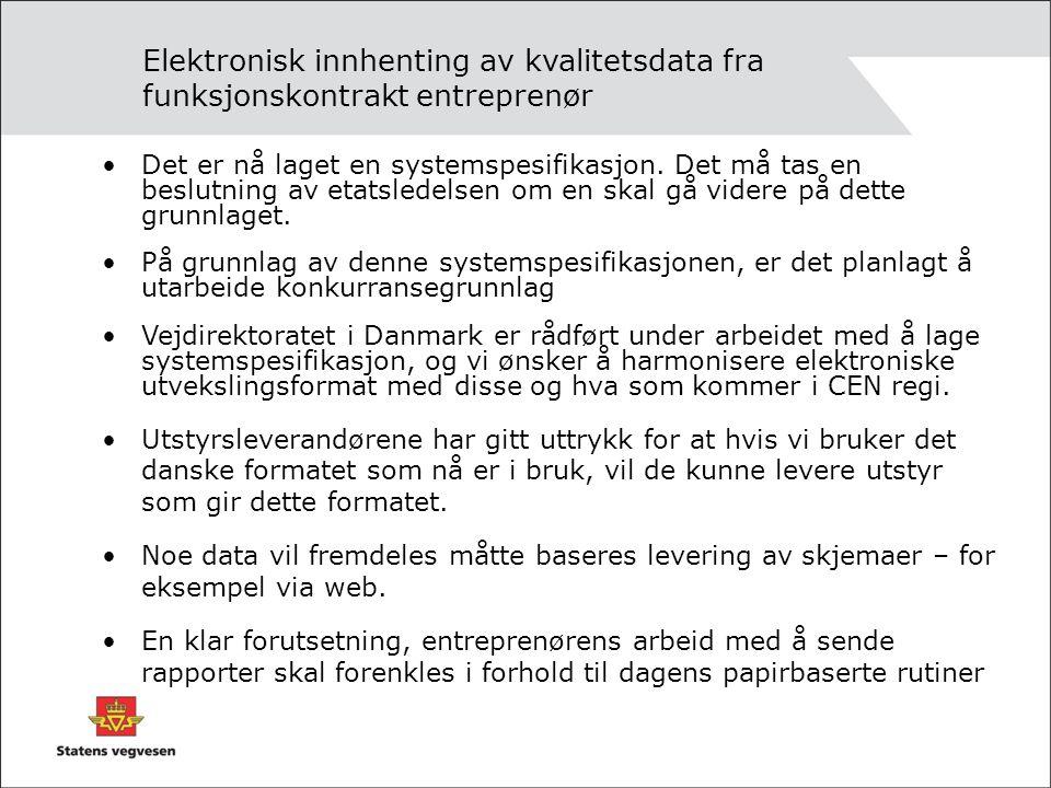 Elektronisk innhenting av kvalitetsdata fra funksjonskontrakt entreprenør