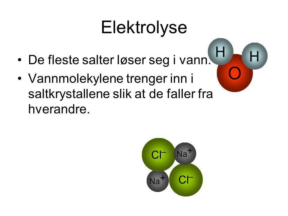 Elektrolyse O H De fleste salter løser seg i vann.