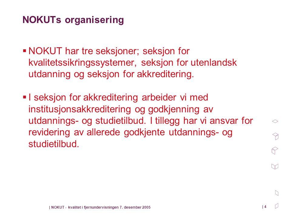 NOKUTs organisering NOKUT har tre seksjoner; seksjon for kvalitetssikringssystemer, seksjon for utenlandsk utdanning og seksjon for akkreditering.