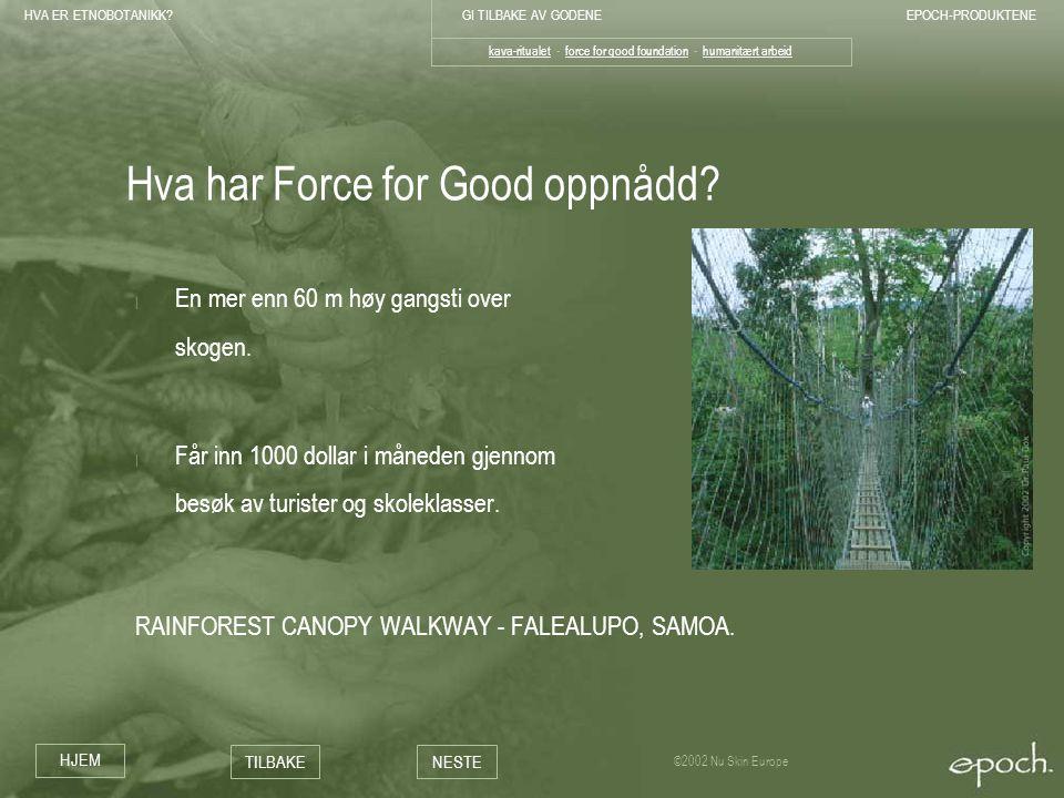 Hva har Force for Good oppnådd