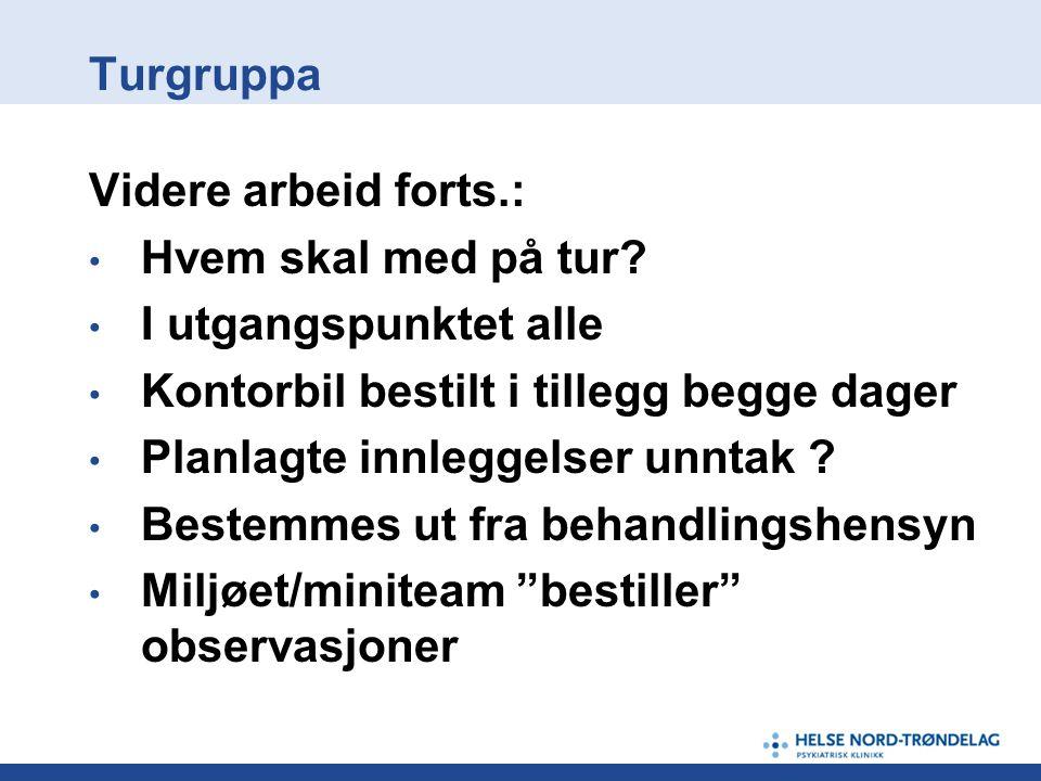 Turgruppa Videre arbeid forts.: Hvem skal med på tur I utgangspunktet alle. Kontorbil bestilt i tillegg begge dager.
