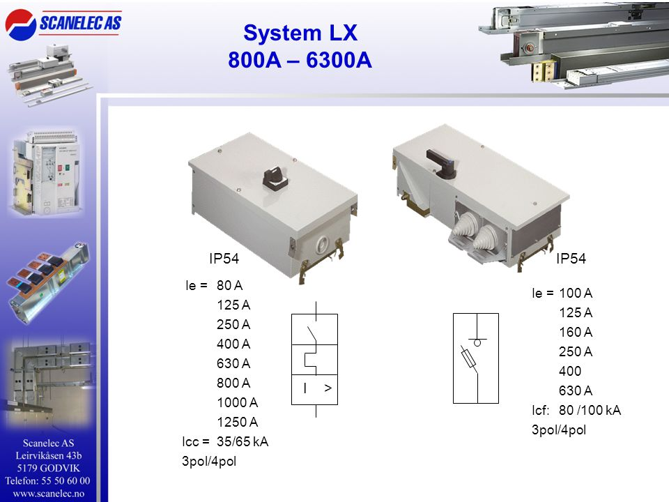 System LX 800A – 6300A IP54 IP54 I > Ie = 80 A 125 A Ie = 100 A