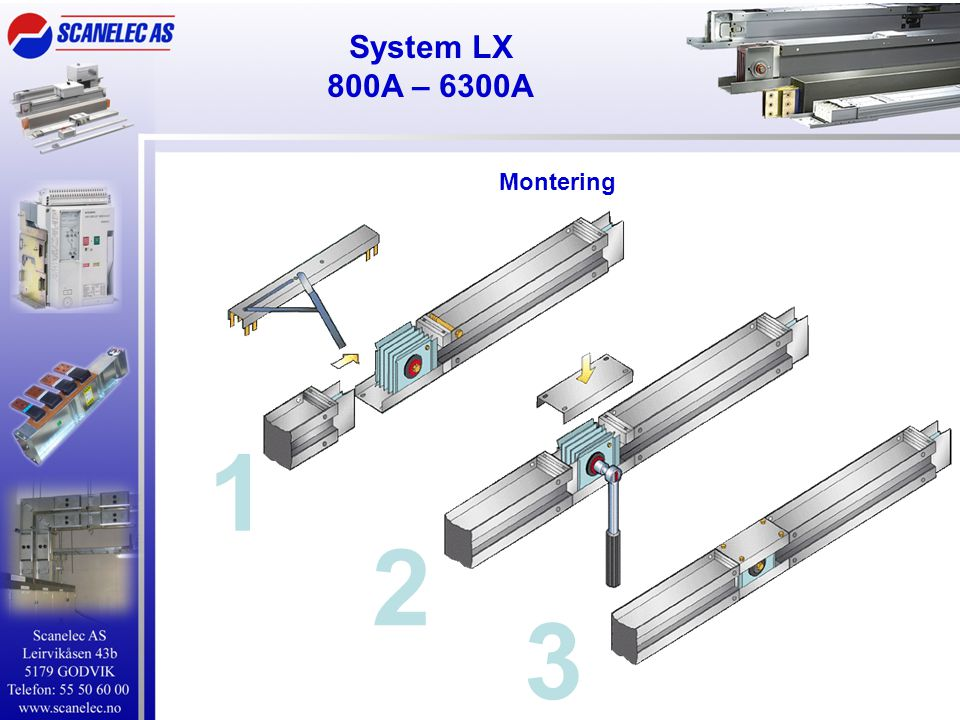 System LX 800A – 6300A Montering 1 2 3