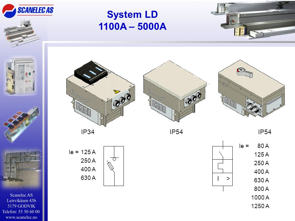 System LD 1100A – 5000A IP34 IP54 IP54 I > Ie = 80 A 125 A