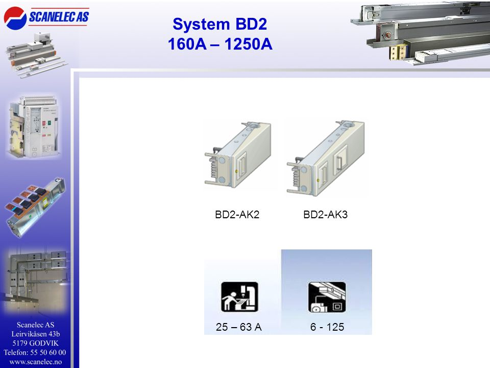 System BD2 160A – 1250A BD2-AK2 BD2-AK3 25 – 63 A 6 - 125