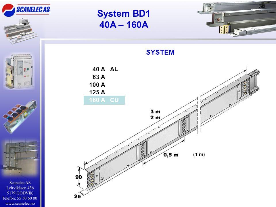 System BD1 40A – 160A SYSTEM 40 A AL 63 A 100 A 125 A 160 A CU (1 m)