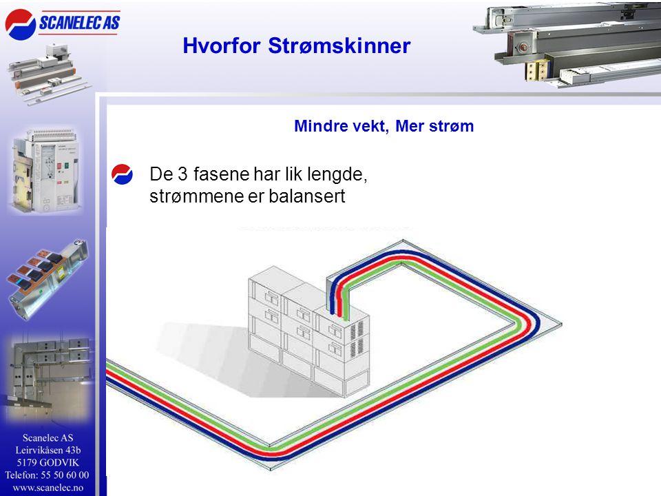 Hvorfor Strømskinner Mindre vekt, Mer strøm De 3 fasene har lik lengde, strømmene er balansert