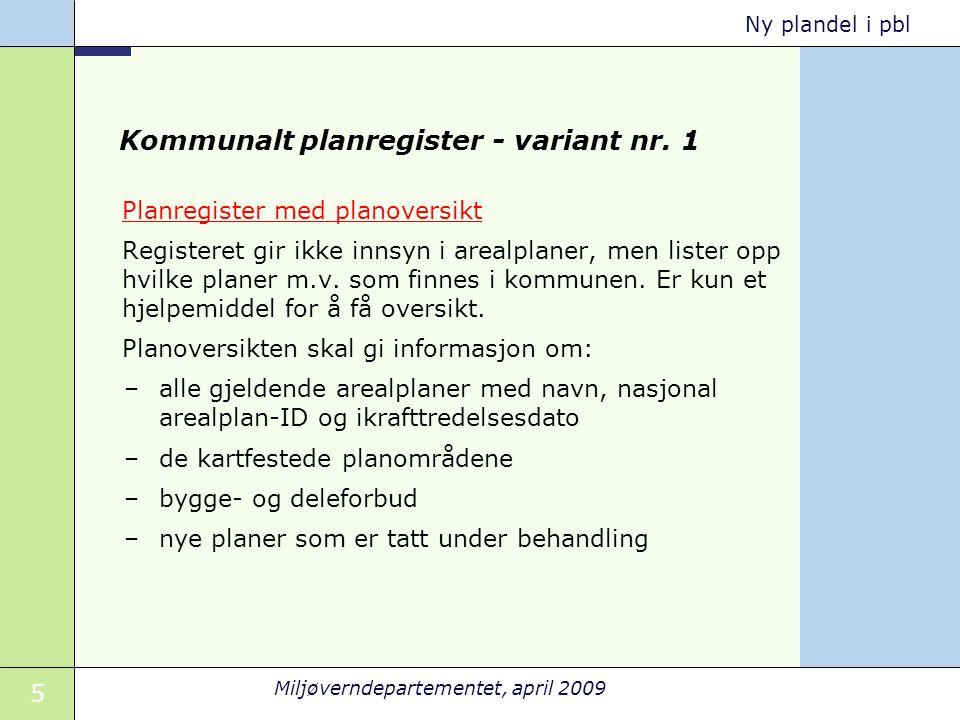 Kommunalt planregister - variant nr. 1
