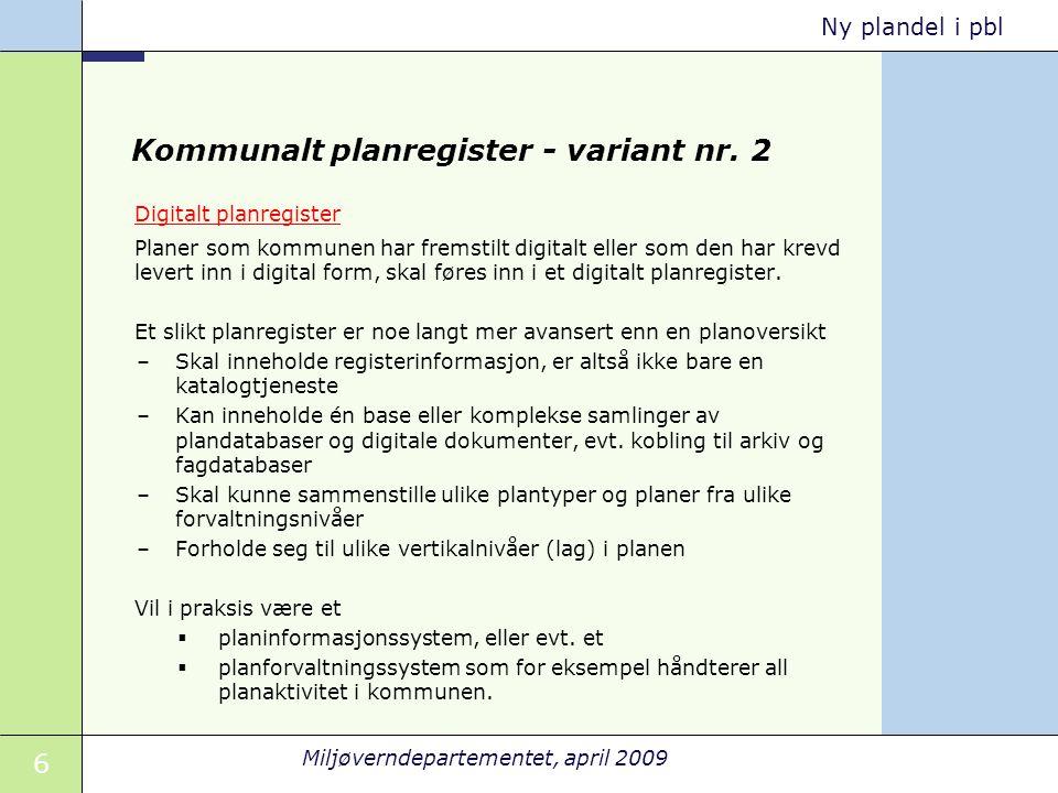 Kommunalt planregister - variant nr. 2