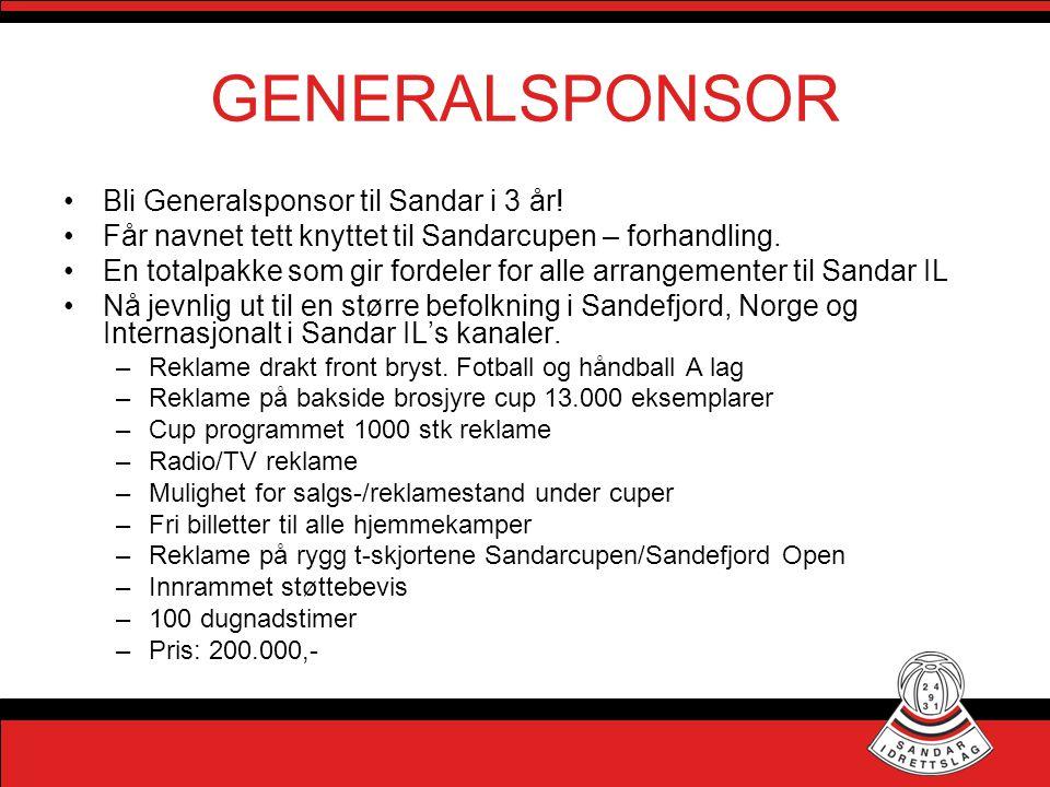 GENERALSPONSOR Bli Generalsponsor til Sandar i 3 år!