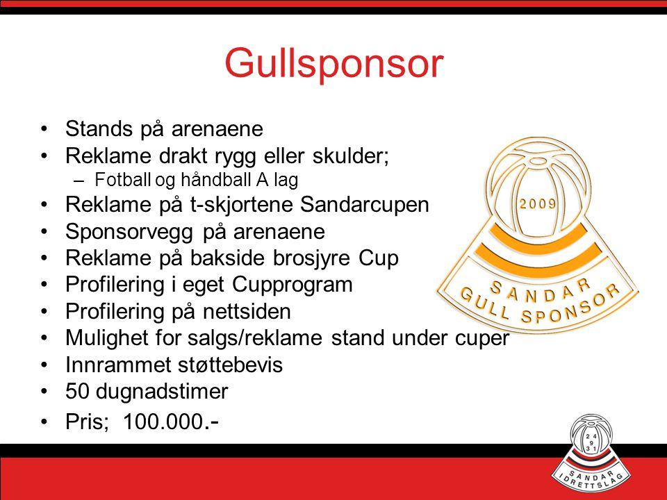 Gullsponsor Stands på arenaene Reklame drakt rygg eller skulder;