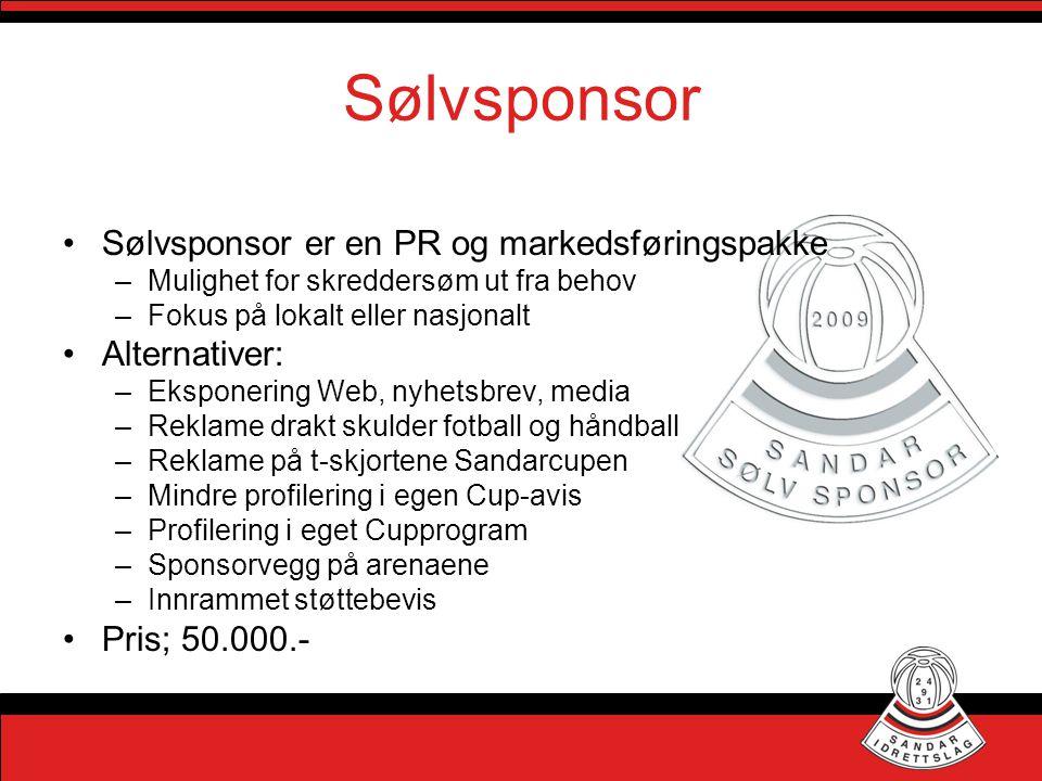 Sølvsponsor Sølvsponsor er en PR og markedsføringspakke Alternativer: