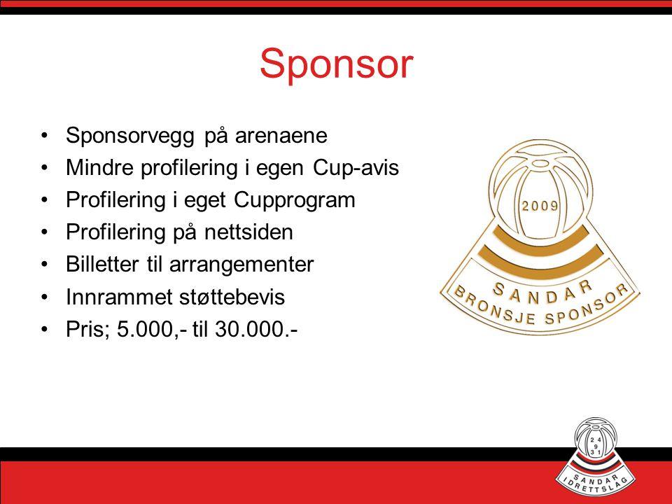 Sponsor Sponsorvegg på arenaene Mindre profilering i egen Cup-avis