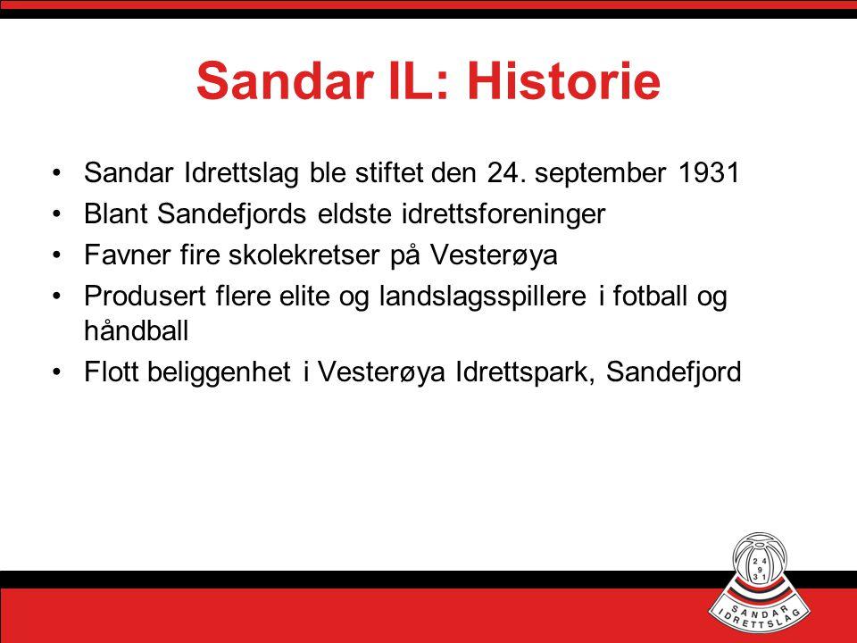 Sandar IL: Historie Sandar Idrettslag ble stiftet den 24. september 1931. Blant Sandefjords eldste idrettsforeninger.