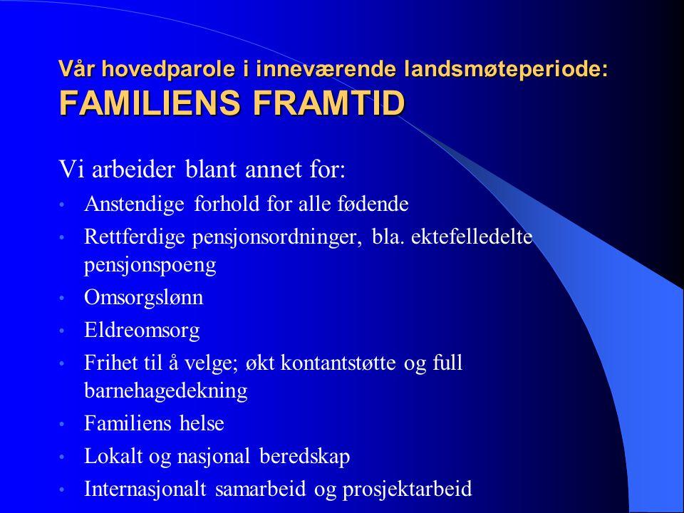Vår hovedparole i inneværende landsmøteperiode: FAMILIENS FRAMTID